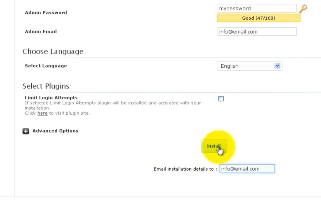 """Click on the """"Install"""" button - How to install WordPress using 1 click"""