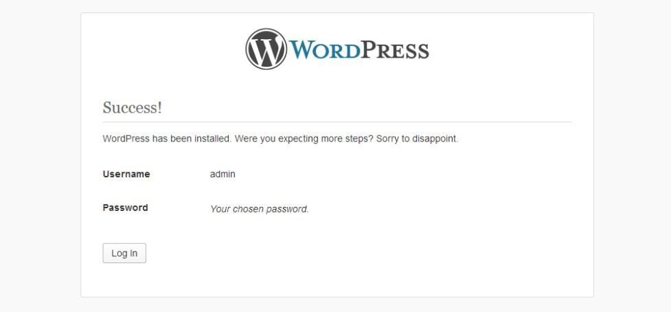 successful installation - How to Install WordPress using FTP