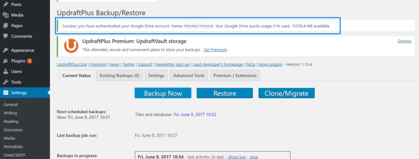 Weekly WordPress backup to Drive is now enabled