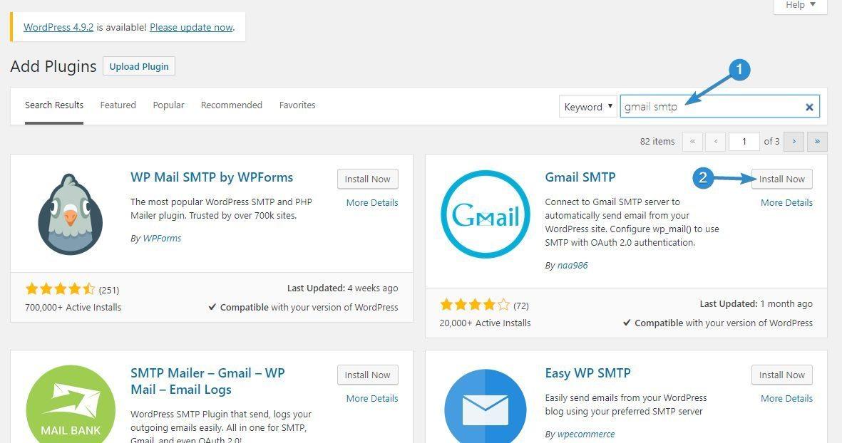 Install Gmail SMTP - WordPress not sending emails