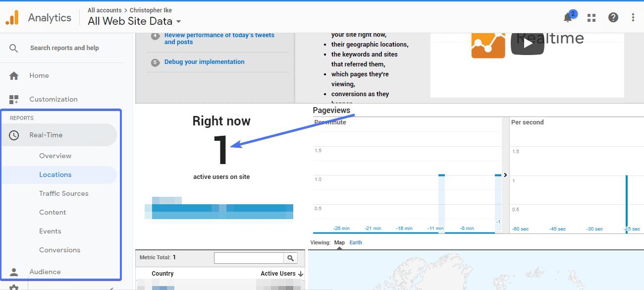 test google analytics real time data